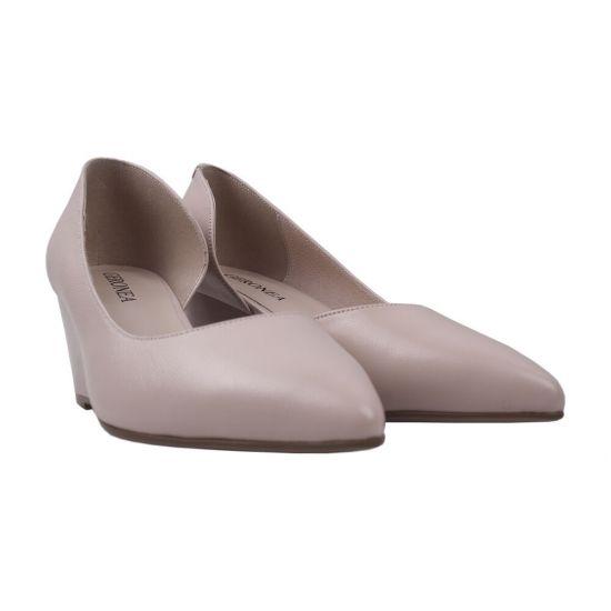 Туфлі жіночі натуральна шкіра, колір пудра