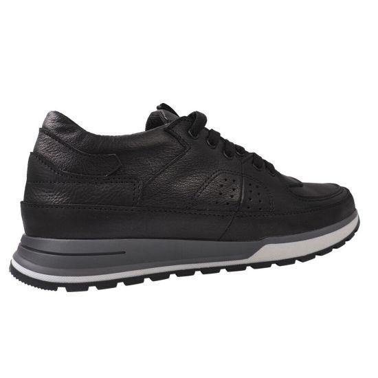 Туфлі спорт чоловічі з натуральної шкіри, на низькому ходу, на шнурівці, чорні, Україна Visazh
