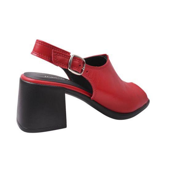 Босоніжки жіночі з натуральної шкіри, на великому каблуці, з відкритою п'ятою, червоний, Mario Muzi