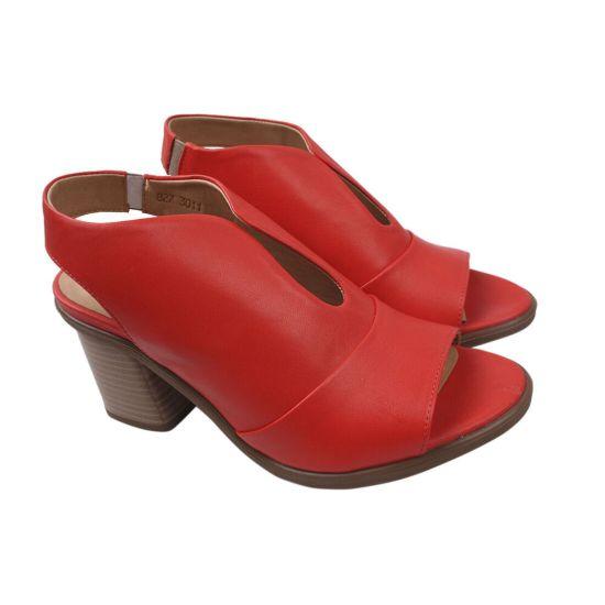 Босоніжки жіночі Pemla натуральна шкіра, колір червоний