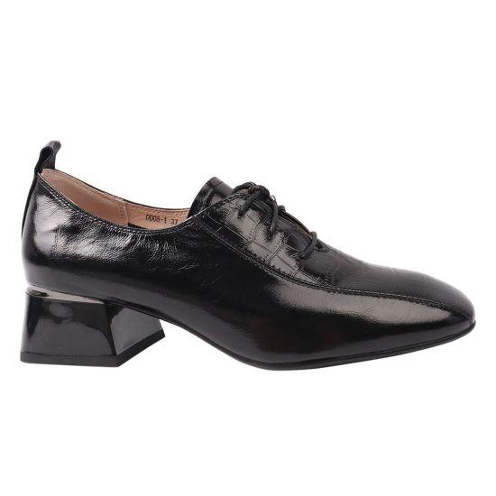 Туфлі жіночі з натуральної шкіри, на великому каблуці, на шурує, чорні, Geronea