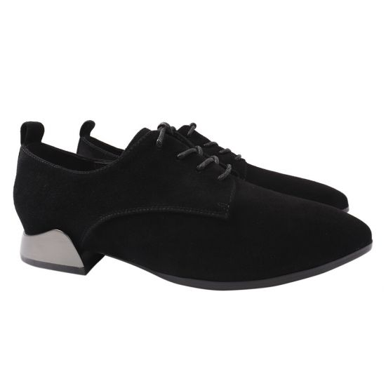 Туфлі жіночі з натуральної замші, на низькому ходу, чорні, Angelo Vani