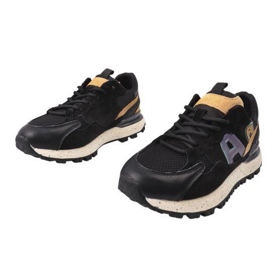 Кросівки жіночі з натуральної шкіри (нубук), на низькому ходу, на шнурівці, чорні, Li Fexpert 616-21DK