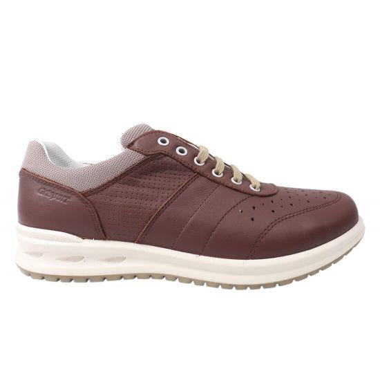 Кросівки чоловічі з натуральної шкіри, на низькому ходу, на шнурівці, колір коричневий, Gri Sport