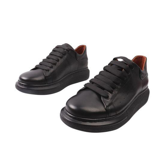 Кеди чоловічі з натуральної шкіри, на низькому ходу, на шнурівці, колір чорний, Україна Vadrus