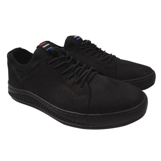 Туфлі спорт чоловічі з натуральної шкіри (нубук), на низькому ходу, чорні, Konors