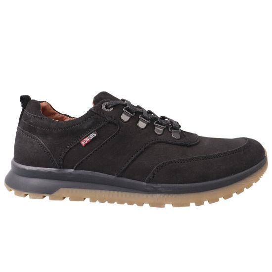 Кросівки чоловічі з натуральної шкіри (нубук), на низькому ходу, на шнурівці, чорні, Україна Konors