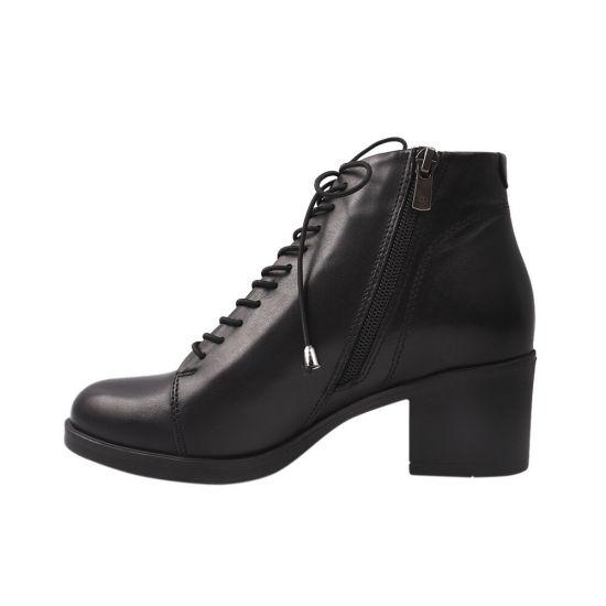 Ботильйони жіночі з натуральної шкіри, на великому каблуці, на шнурівці, колір чорний, Damlax