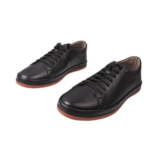 Кеди чоловічі з натуральної шкіри, на низькому ходу, на шнурівці, колір чорний, Україна Davis 116-21DTC