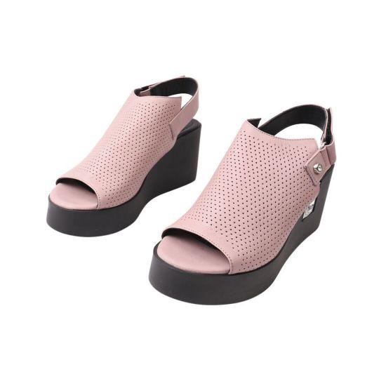 Босоніжки жіночі з натуральної шкіри, на платформі, з відкритою п'ятою, колір рожевий, Aquamarin