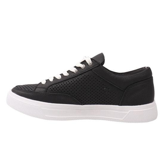 Кеди чоловічі з натуральної шкіри, на низькому ходу, на шнурівці, колір чорний, Maxus shoes 75-21LTCP