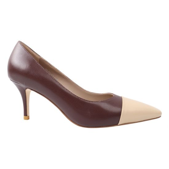 Туфлі жіночі з натуральної лакової шкіри, на шпильці, коричневі, Djovannia
