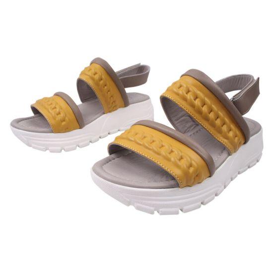 Босоніжки на платформі жіночі Aquamarin натуральна шкіра, колір жовтий