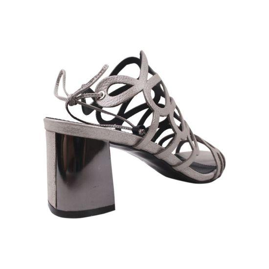 Босоніжки на каблуці жіночі Magnolya шкіра сатин, колір срібло