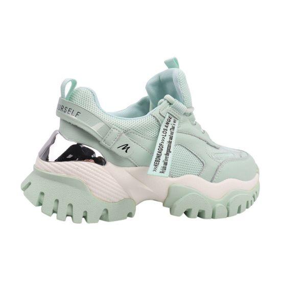 Кросівки жіночі з натуральної шкіри, на низькому ходу, на шнурівці, м'ятні, Li Fexpert