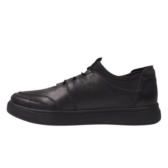 Кеди чоловічі з натуральної шкіри, на низькому ходу, на шнурівці, колір чорний, Україна Zumer 74-21DTC