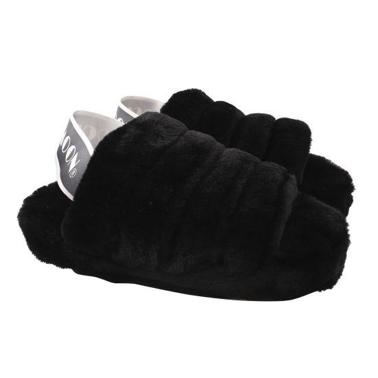 Босоніжки на низькому ходу жіночі Cool Moon Натуральне хутро, колір чорний