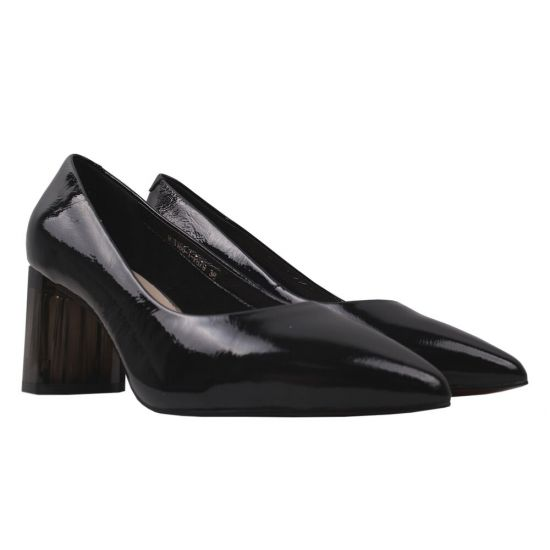 Туфлі жіночі Polann Лакова натуральна шкіра, колір чорний