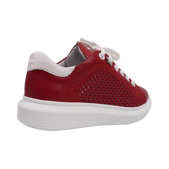 Кеди жіночі з натуральної шкіри, на низькому ходу, на шнурівці, колір червоний, Maxus shoes