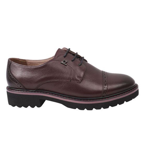 Туфлі жіночі з натуральної шкіри, на низькому ходу, на шнурівці, колір бордо, Anemone