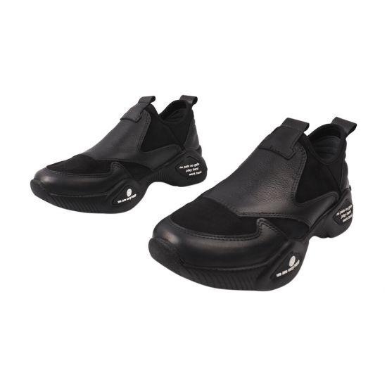 Кросівки жіночі з натуральної шкіри, на низькому ходу, чорні, Туреччина Euromoda