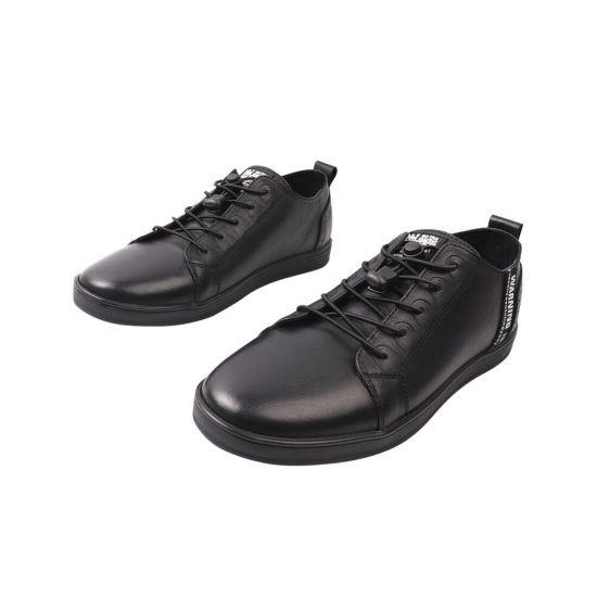 Кеди чоловічі з натуральної шкіри, на низькому ходу, на шнурівці, колір чорний, Marion 28-21DTS