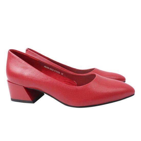 Туфлі жіночі з натуральної шкіри, на підборах, червоні, Berkonty