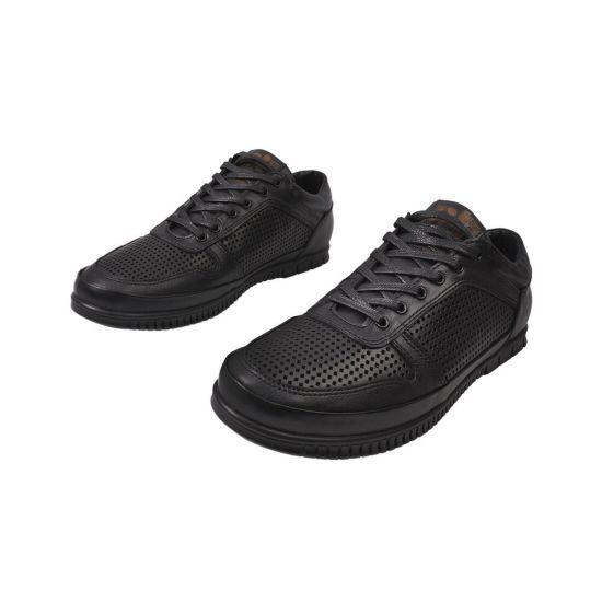 Кеди чоловічі з натуральної шкіри, на низькому ходу, на шнурівці, колір чорний, Україна Belvas