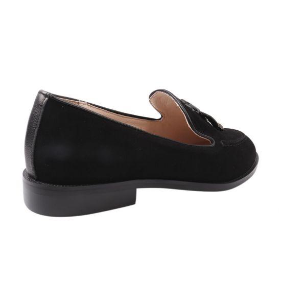 Туфлі жіночі з натуральної замші, на низькому ходу, колір чорний, Farinni