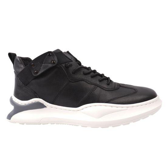 Кросівки чоловічі з натуральної шкіри, на низькому ходу, на шнурівці, колір чорний, Arees