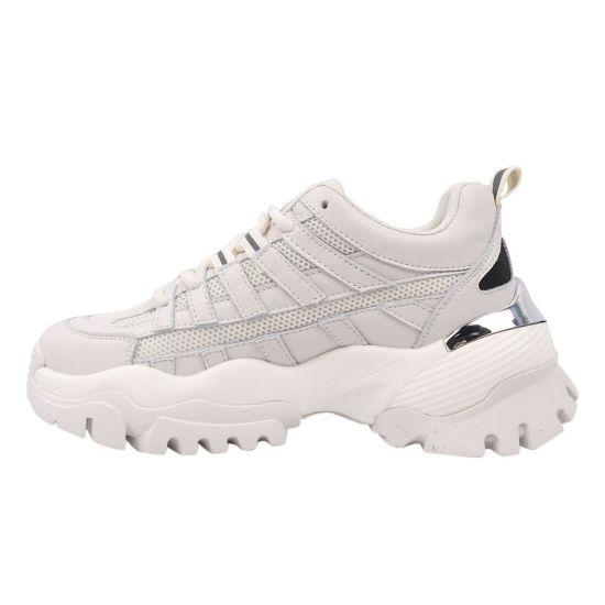 Кросівки жіночі з натуральної шкіри, на платформі, на шнурівці, молочні, Li Fexpert