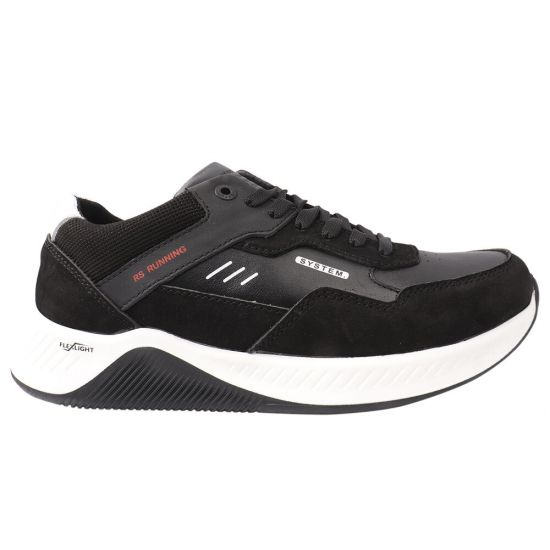 Кросівки чоловічі з натуральної шкіри, на низькому ходу, на шнурівці, чорні, Konors