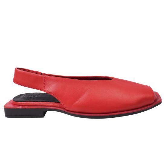 Босоніжки жіночі з натуральної шкіри, на низькому ходу, з відкритою п'ятою, червоний, Aquamarin