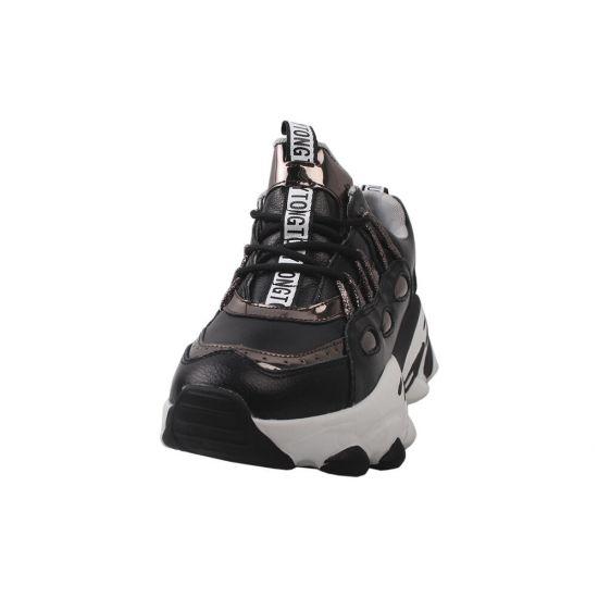 Кросівки жіночі з натуральної шкіри, на шнурівці, на платформі, чорні, Li Fexpert