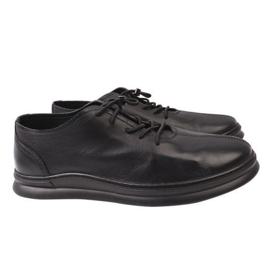 Кеди чоловічі з натуральної шкіри, на низькому ходу, на шнурівці, колір чорний, Rondo