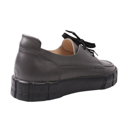 Туфлі жіночі з натуральної шкіри, на низькому ходу, на шнурівці, колір сірий, Vadrus