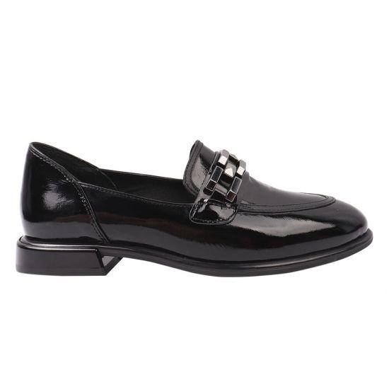 Туфлі жіночі з натуральної лакової шкіри, на низькому ходу, чорні, Aquamarin