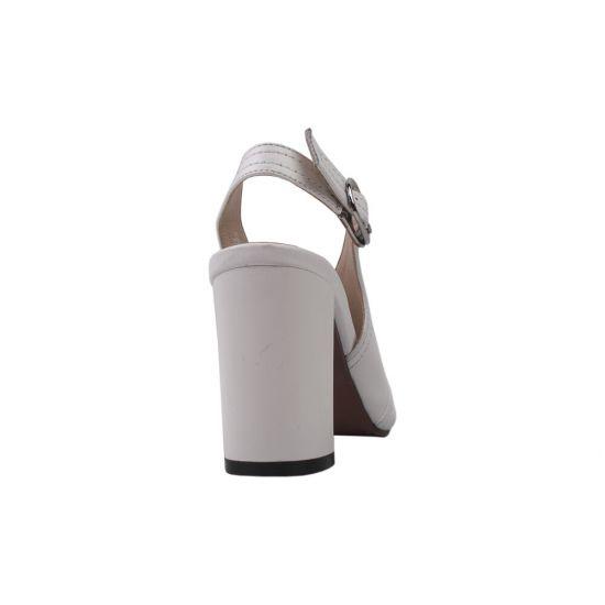 Босоніжки на каблуці жіночі натуральна шкіра, колір білий