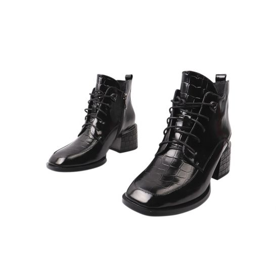 Ботильйони жіночі з натуральної шкіри, на підборах, на шнурівці, колір чорний, Geronea 935-21DH