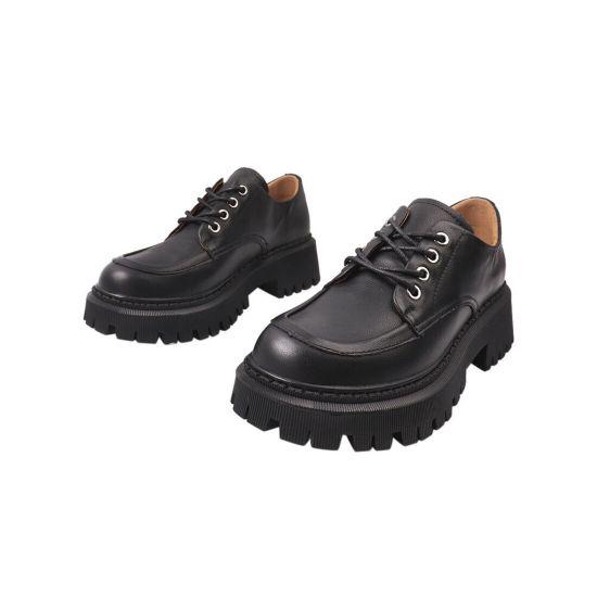Туфлі жіночі з натуральної шкіри, на платформі, на шнурівці, чорні, Li Fexpert