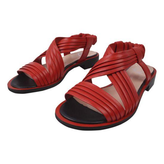 Босоніжки на низькому ходу жіночі Aquamarin натуральна шкіра, колір червоний