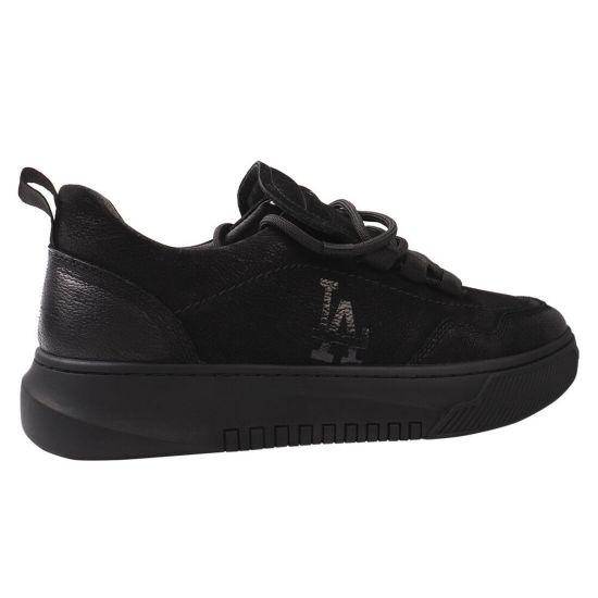 Туфлі спорт чоловічі з натуральної шкіри (нубук), на низькому ходу, на шнурівці, чорні, Cosottinni