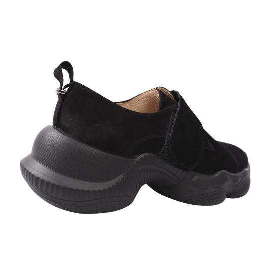 Кросівки жіночі з натуральної замші, на низькому ходу, колір чорний, Vadrus