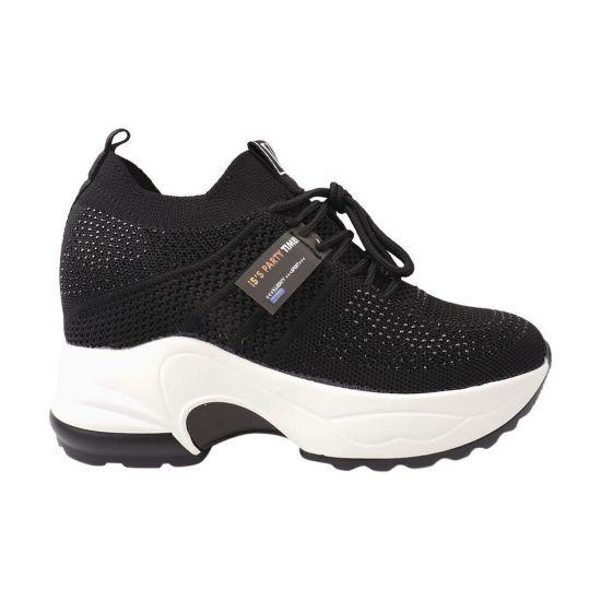 Кросівки жіночі з текстилю, на платформі, на шнурівці, чорні, Vikonty