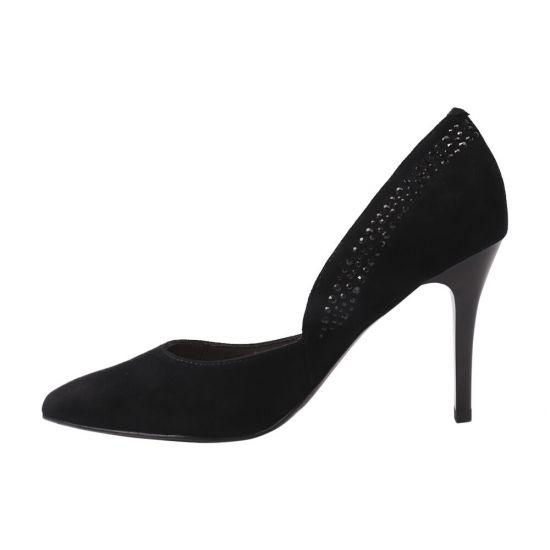 Туфлі жіночі з натуральної замші, на шпильці, чорні, Molka