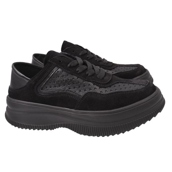 Кросівки жіночі з натуральної замші, на низькому ходу, на шнурівці, колір чорний, Best Vak 62-21DTS