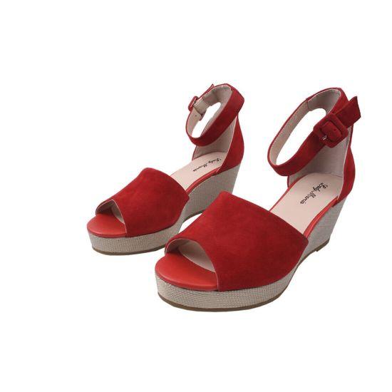 Босоніжки на платформі жіночі Lady Marcia Натуральна замша, колір червоний