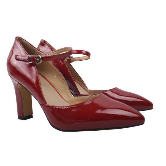 Туфлі жіночі з натуральної лакової шкіри, на великому каблуці, червоні, Angelo Vani