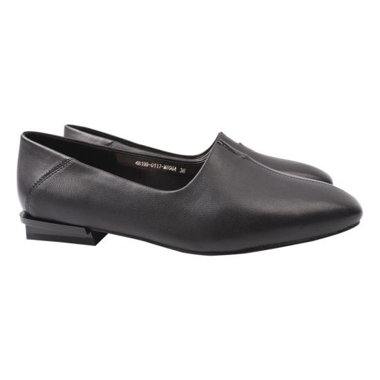 Туфлі жіночі з натуральної шкіри, на низькому ходу, чорні, Berkonty