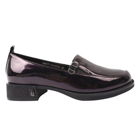 Туфлі жіночі з натуральної лакової шкіри, на низькому ходу, фіолетові, Polann